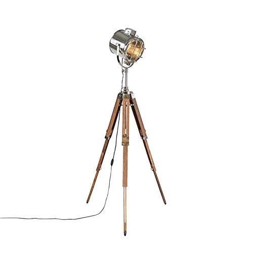 QAZQA Industrie/Industrial Stehleuchte/Stehlampe/Standleuchte/Lampe/Leuchte mit Holzstativ und Studiospot - Tripod/Dreifuß Lampe/Dreifuss Shiny/Innenbeleuchtung/Wohnzimmerlampe/Sch