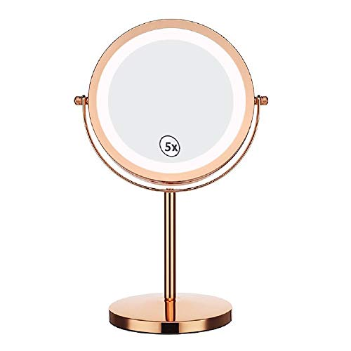 7' LED Illuminated Makeup Mirror Continental Magnifying Vanity Mirror Two-Sided 5x Magnifying Desktop standing Glass Face mirror Rose Gold switch button 360° Swivel Cosmetics Mirror