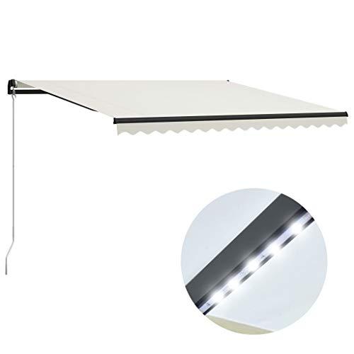 vidaXL Markise Einziehbar Handbetrieben mit LED Wasserabweisend Balkonmarkise Gelenkarmmarkise Sonnenschutz Terrasse Balkon Aluminium 400x300cm Creme