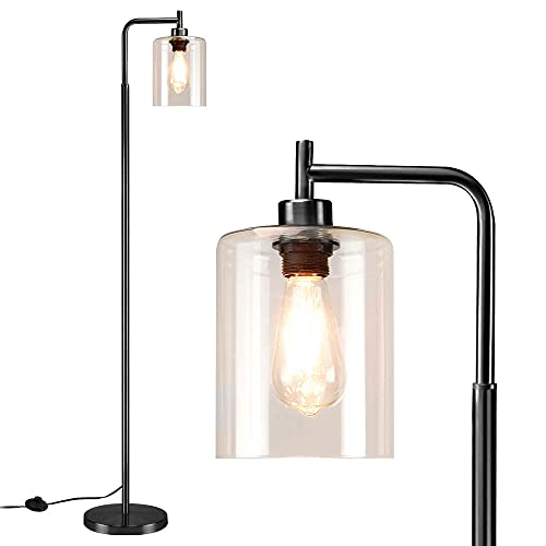 Depuley Led Floor Lamp,Modern Standing Lamp with Hanging Glass Shade,Eye-Care Metal Reading Floor Light,Industrial Warm White Floor Lamps for Living Room,Office,Black(6W A60,E27 Edison Bulb Included)