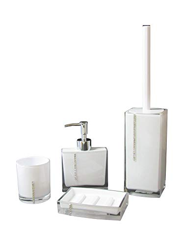 SANWOOD Badaccessoires Set 4-teilig Serie: Marilyn weiß mit Swarovski Elements Seifenschale Seifenspender WC-Bürstengarnitur Mundspülbecher Waschbeckenzubehör