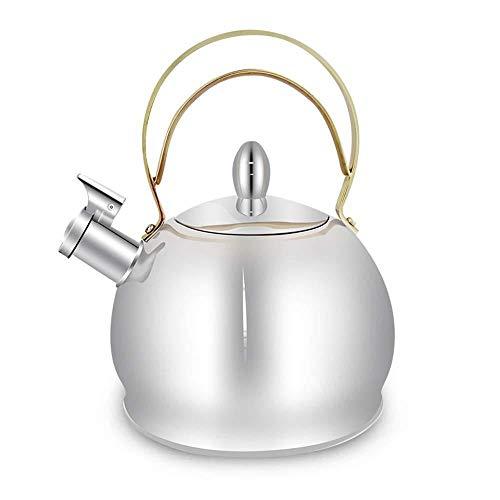 Cuisinière bouilloire for le gaz, à fond plat Stovetop Teakettle acier inoxydable sifflet bouilloire Épaississement plateau gaz Cuisinière à induction universelle (Color : Silver, Size : 3l)