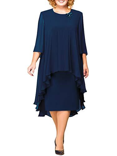 MisShow Damen uebergroeßen Mutter Hochzeitskleid Abendkleider Chiffon Ballkleid Partykleid Hochzeit Brautmutterkleid Midilang Navyblau 50