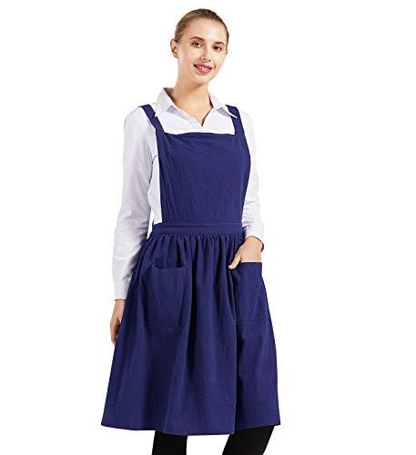 Nanxson Women Cotton Linen Bib Apron Cross Back Work Apron for Cooking,Baking,Crafting,Flower Arrangement CF3046 (Navy, One Siz)