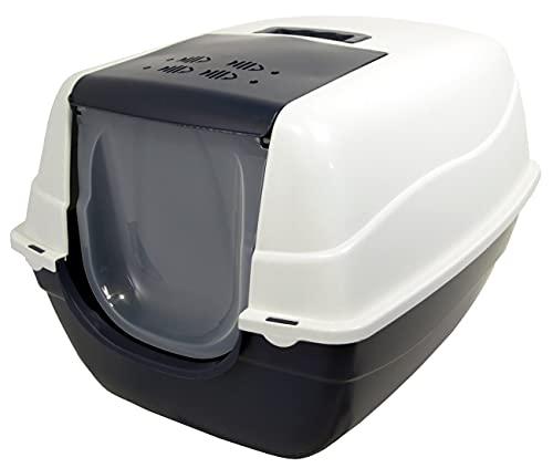 PETGARD Katzentoilette, für große Katzenrassen mit XXL aufklappbaren Deckel, Filter und Streuschaufel, geschlossen und leicht zu reinigen, 70x57x46 cm, Orlando