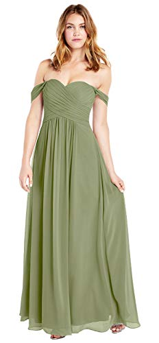 Plus Size Off The Shoulderer Pleated Chiffon A Line Formal Prom Dress Long Bridesmaid Dress (Moss Green-26 Plus) (Apparel)