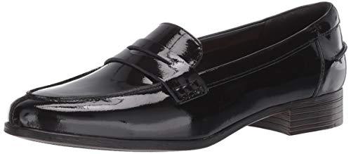 Clarks Damen Hamble Penny Loafer, schwarzer Lack, 38.5 EU