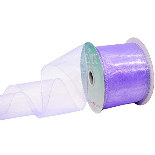 Morex Ribbon Wired Chiffon Ribbon, 2.5-in x 20-Yd, Lavender