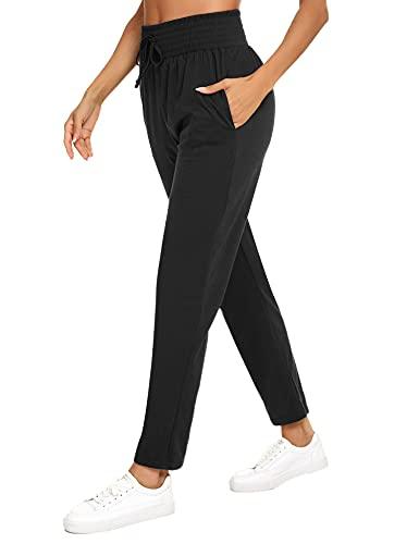 Irevial Pantalones Deportivos Mujer Verano Casual Pantalones Casuales de Cintura Alta Largo con Bolsillos y Cordón Decorado Pantalones Chándal Algodón Sólido para Correr Yoga Negro, M
