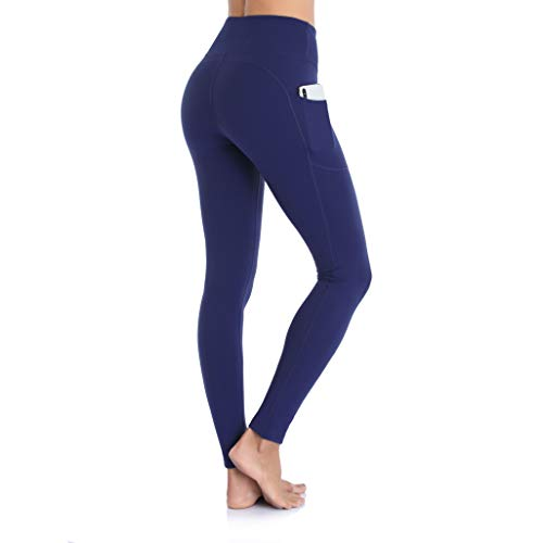 Ollrynns SporthoseLeggings Damen Hohe Taille YogahoseLangeBlickdichtLeggins FitnesshosemitTaschen für SportFitness Yoga Gym CA166 (Tiefes Blau, Large)