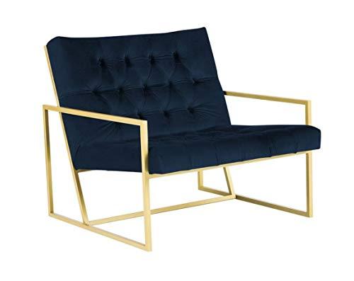 Belle Fierté Chesterfield-Sessel aus Samt, mit Metallsockel, handgefertigt, aus Stoff, pflegeleicht, Marineblau