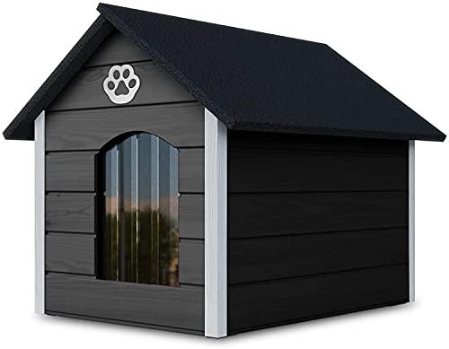 Outetntin Hundehaus aus Holz - Gemütliches und stilvolles Haus für Ihren Hund mit isolierten Wänden - Wasserdicht - Größe XL (Grau - Weiß)