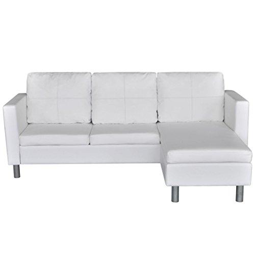 Festnight L-förmiges Sofa 3-Sitzer Ecksofa Sofa Eckcouch Couch mit Schlaffunktion mit 3 Sitzpolster und 3 Kissen Kunstleder Weiß 188 x 122 x 77 cm