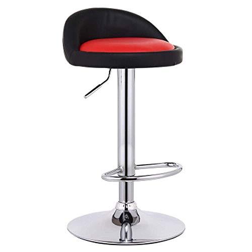 WRISCG Silla giratoria de estilo europeo para desayuno, cocina, bar, taburete delantero, taburete alto que puede elevar el respaldo giratorio de alta gama (color interior: negro infrarrojo)
