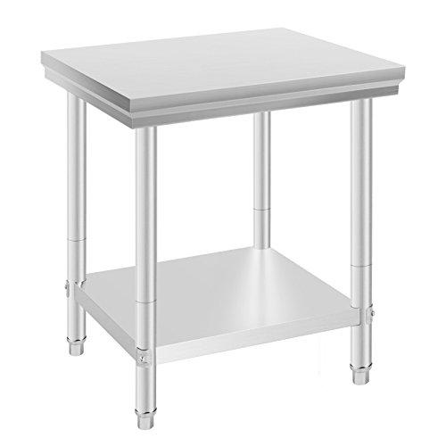 VEVOR Mesa de trabajo de acero inoxidable, 24 x 30 pulgadas, mesa de trabajo de cocina, mesa de trabajo de acero inoxidable (24 x 30 pulgadas)