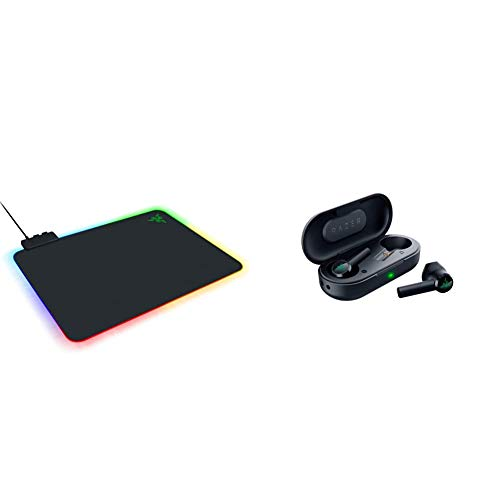 Razer Firefly Hard V2 RGB Gaming Mouse Pad & Hammerhead True Wireless Bluetooth Gaming Earbuds: 60ms Low-Latency - IPX4 Water Resistant - Bluetooth 5.0 Auto Pairing - Touch Enabled - Classic Black