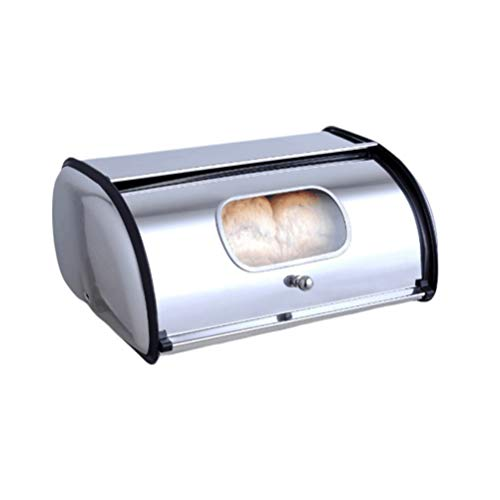 YARDWE Stainless Steel Bread Box for Kitchen Bread Container Bread Storage Holder Bin Large Capacity Bread Keeper Bakery Shop Christmas Home Supplies S with Window with Handle Silver