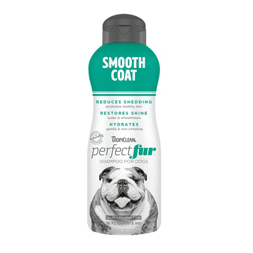 TropiClean PerfectFur Smooth Coat Shampoo for Dogs, 16oz - Made in USA - Naturally Derived - Smooth Coat Formula - Moisturizing & Shed Control for Skin-Hugging Coats Like Bulldogs, Boxers, & Pointers