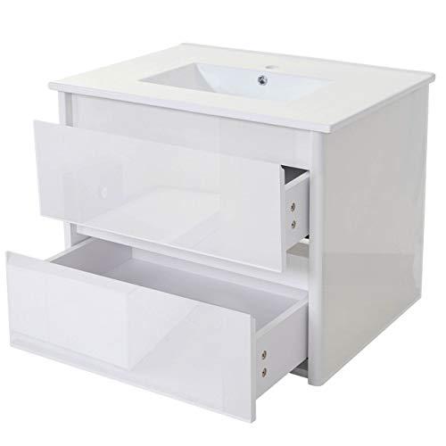 Mendler Waschbecken + Unterschrank HWC-B19, Waschbecken Waschtisch Badezimmer, Hochglanz 50x80cm ~ weiß