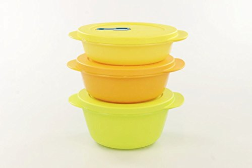 Tupperware Microonde Cryst alwave 800 ML Colore: Verde Lime + 600ml Orange + 400 Giallo Micro Pop 17199, Uni