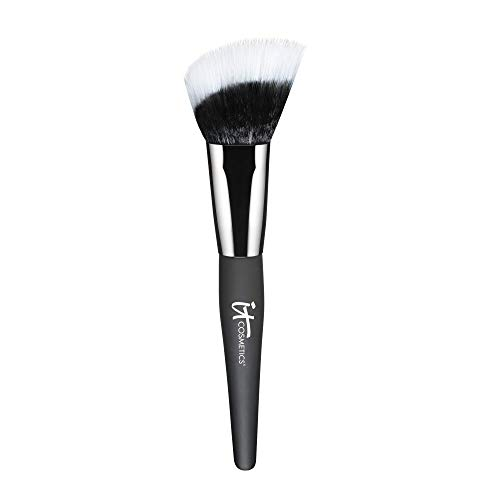 IT Cosmetics Heavenly Luxe Angled Radiance Creme Brush - For Blush & Cream or Liquid Makeup - Airbrushed Finish - Soft, Pro-Hygienic Bristles