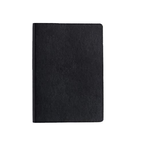Diario de bolsillo de PU A5, tapa dura, tapa blanda, piel sintética, 120 g/m², papel grueso para negocios, para viajes, escritura, oficina, escuela, oficina, cuadernos (color: negro)