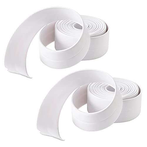 2 piezas de cinta de sellado autoadhesiva impermeable,cinta antimoho,zócalo suave,unión de pliegues blancos autoadhesivos,uso en cocina y baño(3,2 metros)