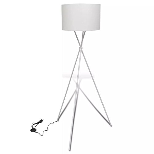 Zora Walter Lámpara de pie 60 W, Color Blanco, para salón, con pie de trípode, Interruptor de Encendido y Apagado Negro, 380 x 380 x 1390 mm