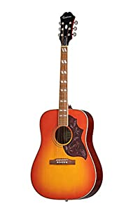 This is the Epiphone Hummingbird Pro in Faded Cherry Burst Finish