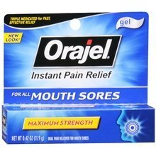 Orajel Oral Pain Reliever Gel for Mouth Sores 0.42 oz. (Quantity of 4)