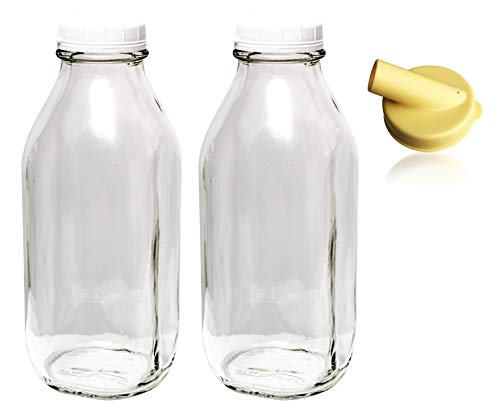 The Dairy Shoppe 1 Ltr. (33.8 oz.) Glass Milk Bottle Vintage Style with Cap & NEW Pour Spout! (2 Pack)