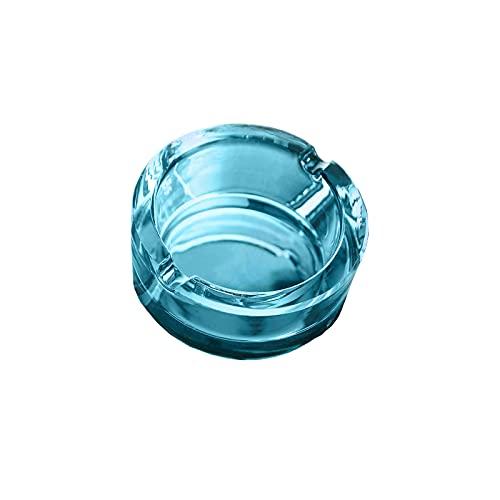 EUROXANTY Cenicero cristal | Cenicero 4 apoya cigarros | Cenicero de Exterior | Cenicero Decorativo para Terraza | Cenicero Redondo | 7 cm | Azul