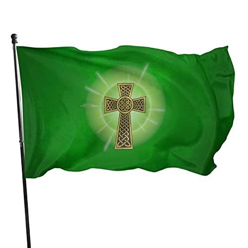 Celtic Cross On A Field of Green Garden Flag, Courtyard Outdoor Patrotic Flag Spring Summer Banner Garden Decoration Flags 3x5 Ft