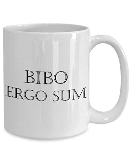 N\A Ich trinke deshalb Bin ich Becher Bibo Ergo Sum lateinische Phrase für Kaffeetrinker Tee Bier was auch Immer