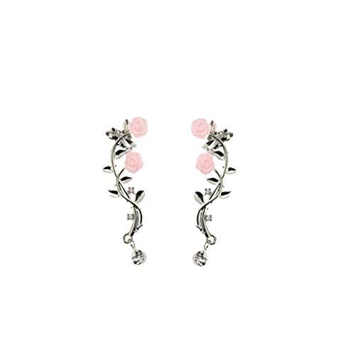 HINK Moda de Moda Simple Rama de Rosa Pendiente Pendiente del Anillo del oído joyería y Relojes Pendientes