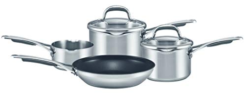 Meyer 66925 Select Milkpan, Saucepans Set of 4-10 Year Guarantee-Non Stick frypan Pans-Glass lids cookware – Induction, Oven and Dishwasher Safe, Stainless Steel
