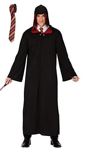 shoperama Zauberer Robe Mantel mit Kapuze und Krawatte für Erwachsene Magier Umhang Herren-Kostüm Damen-Kostüm, Größe:M/L