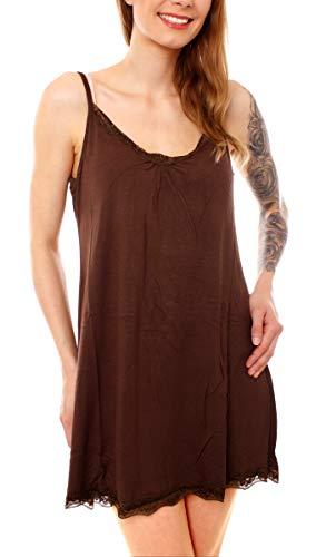 Easy Young Fashion Damen Nachthemd Kurz Lingerie Schlaf Spaghettiträger Kleid Negligee mit Spitze Uni Dunkelbraun