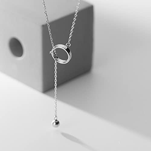 ShSnnwrl Collar Collar de Borla de círculo geométrico de Plata de Ley 925 Collar retráctil de Uso múltiple Cadena de clavícula Femenina Joy