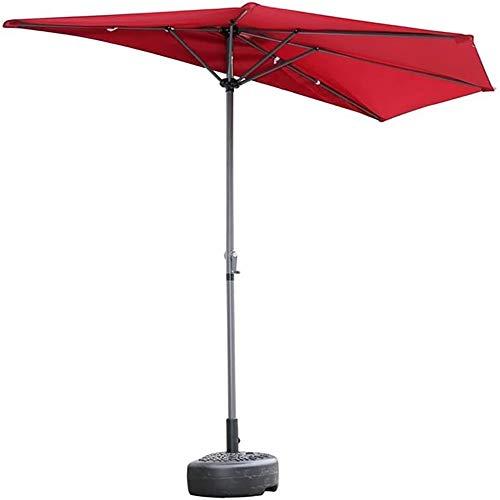 Mesa de jardín con el paraguas, sombrillas portátil Balcón Patio media pared semi paraguas redonda con la manivela, la cortina de Sun de la Pequeña Terraza Jardín protección UV, 2.7M (9 pies),Rojo