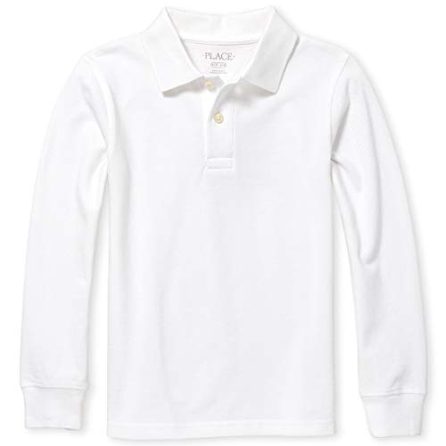 The Children's Place Boys' Uniform Long Sleeve Pique Polo, White, S (5/6)