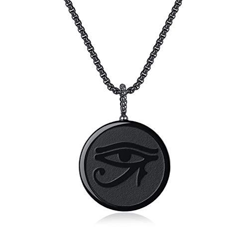 coai Geschenkideen Unisex Glückskette mit Horusauge Anhänger aus Obsidian Talisman Anhänger Amulett Halskette