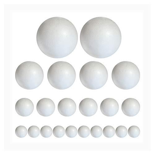Styropor A3099120 Lot de 20 Boules en polystyrène Blanc 2 x 6 cm 4 x 5 cm 6 x 4 cm 8 x 3 cm