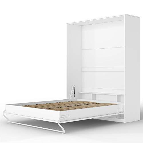 SMARTBett Standard 160x200 Vertikal Weiss Schrankbett | ausklappbares Wandbett, ideal geeignet als Wandklappbett fürs Gästezimmer, Büro, Wohnzimmer, Schlafzimmer