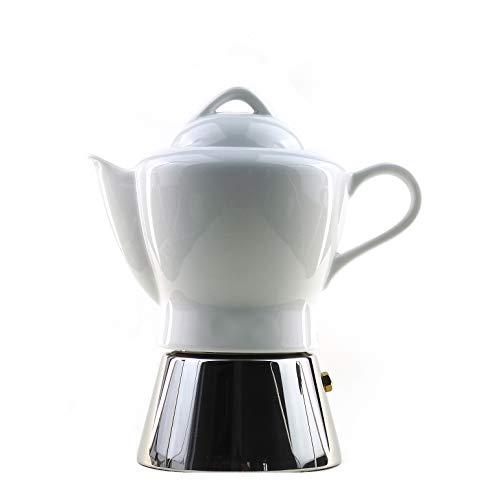 Moka Consorten Italienischer Espressokocher »Nicole« | Edelstahl und weißes Porzellan | Füllmenge: 210 ml | Made in Italy