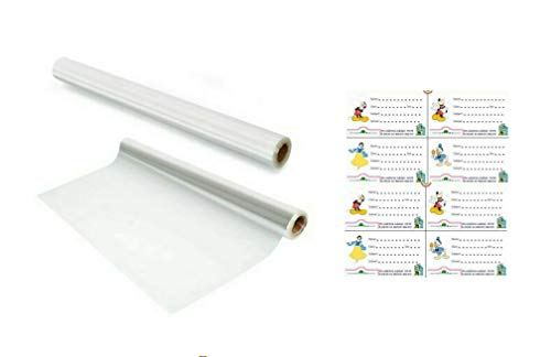 Yashvin Combo Pack || Long Transparent Cover Roll for School Notebook/Book|| Protect from Dust and Water ( Pack of 2 ) || 12 Pcs Name Slips Self Adhesive