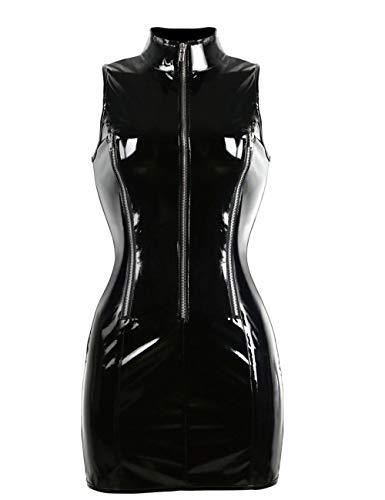 Conjuntos De Lencería para Mujer Vestido De PVC para Mujer Sexy Look Mojado Night Clubwear Bodycon Mini Vestido Catsuit Traje De Estilo Sin Mangas De Cuello Alto para Mujer @ S