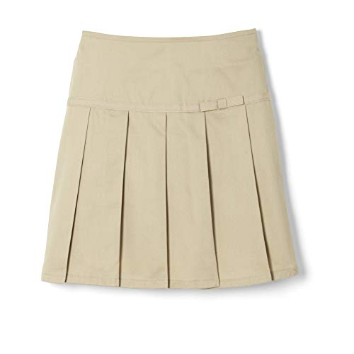 French Toast Big Girls' Pleated Scooter with Gross Grain Ribbon, Khaki, 7