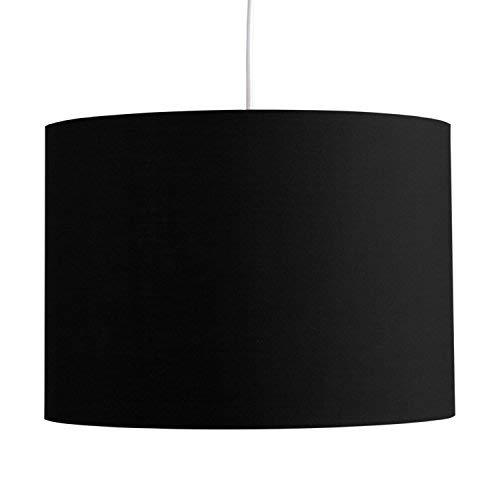 MiniSun – Moderna Pantalla Cilíndrica– Lámparas Techo o Mesa – Gran Dimensión - Tela Negra – iluminación Interior