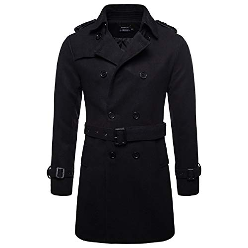 AOWOFS Men's Trench Coat Woolen Winter Long Double Breasted Overcoat Slim Fit Warm Pea Coat (Black, Large)